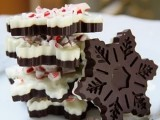 dark and white chocolate snowflakes with peppermints on top are amazing for a wedding dessert table and as wedding favors
