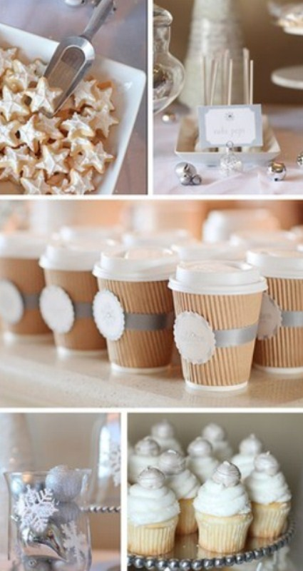 star-shaped cookies, white candy pops and cupcakes with icing and edible ornaments on top are great as winter wedding desserts