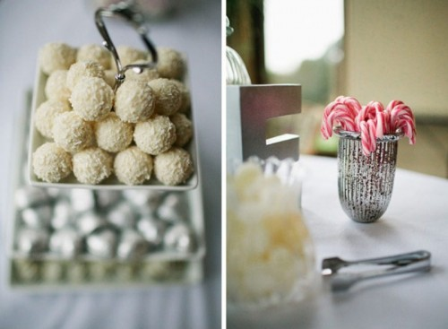white chocolate and candy canes are great for a winter wedding dessert table and will give it a festive feel