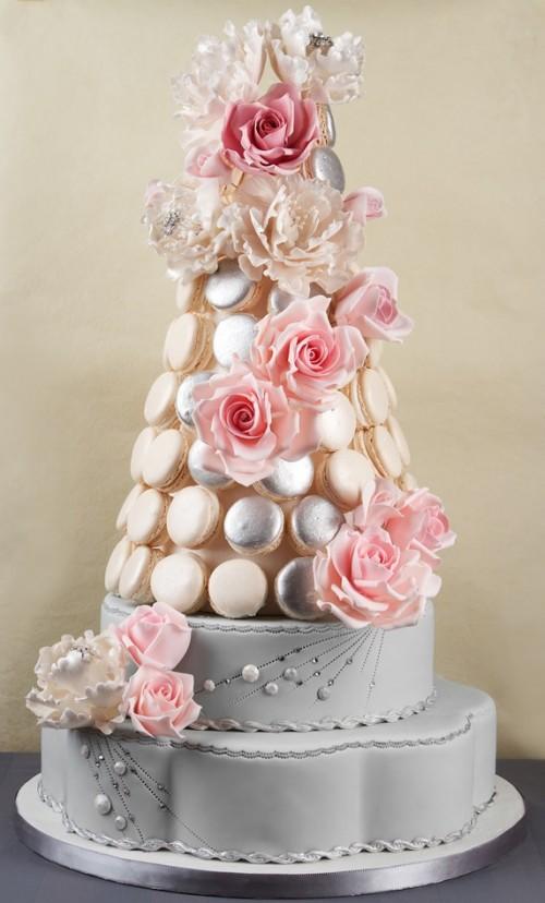 Wedding Cakes Decorated With Macaroni