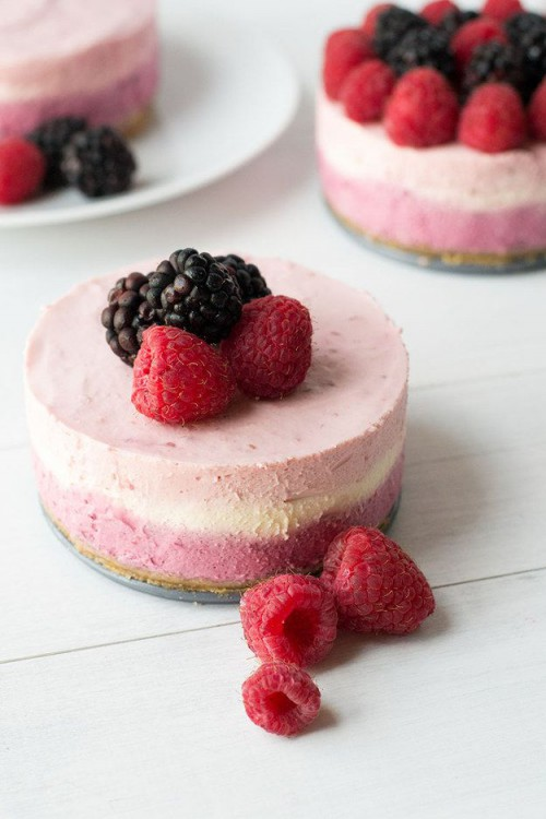 mini pink ombre cheesecakes with fresh raspberries and blackberries are delicious and look super cool