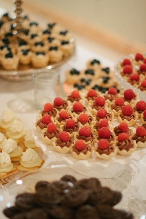 mini tartlets with fresh berries and whipped cream or chocolate cream for a wedding