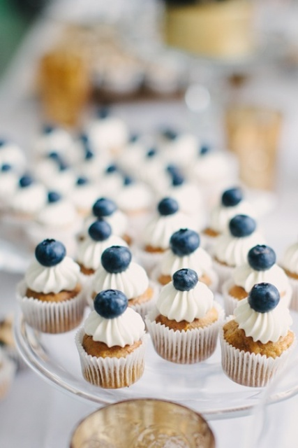 mini cupcakes with whipped cream and bluberries on top are fresh, delicious and crowd-pleasing