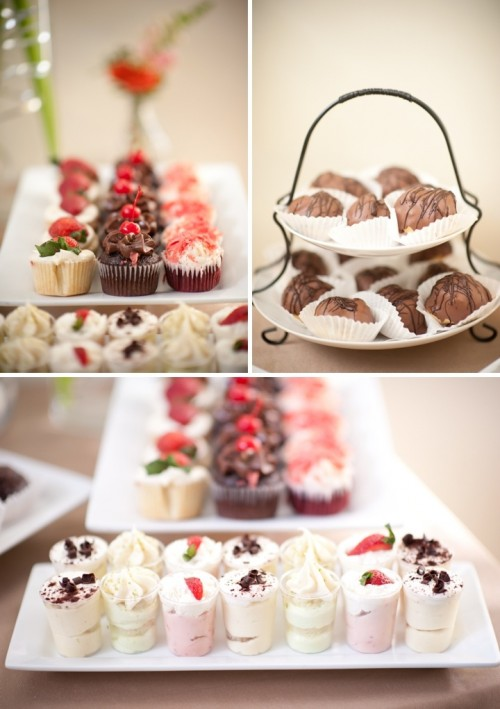 chocolate petit fours, cupcakes with icing and fresh berries, a variety of shortcakes are all you need