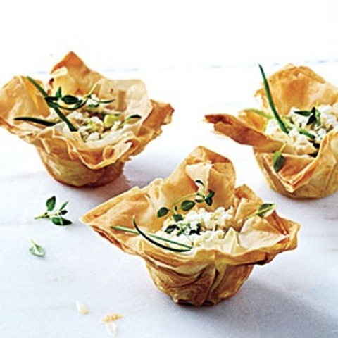 edible cupes with feta cheese and fresh herbs will refresh and keep guests happy