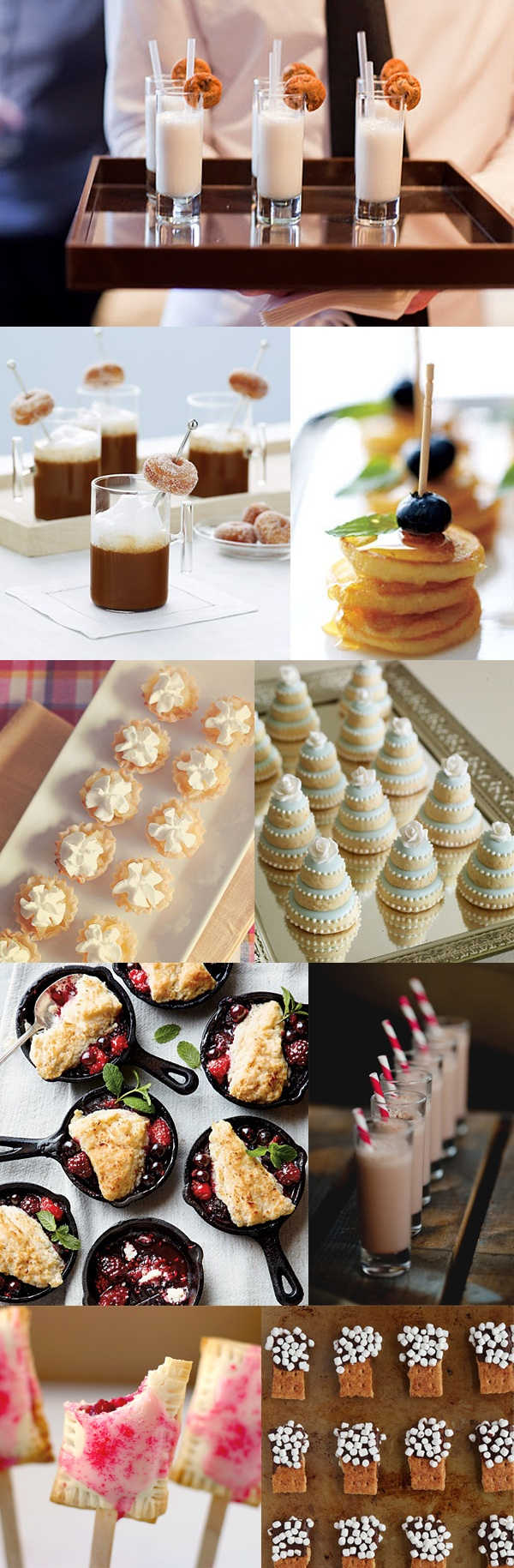 sweet summer wedding appetizers    donuts, mini pancakes on skewers and baked pops are great for a brunch wedding