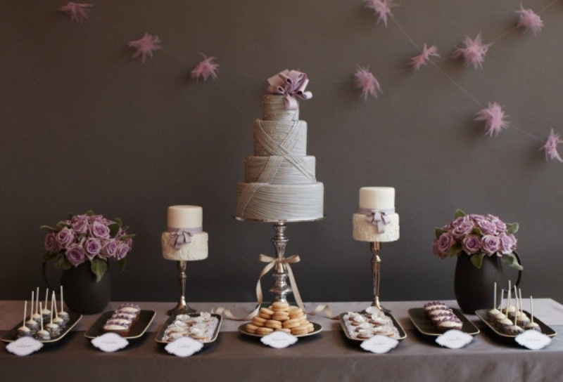 Dessert Table Setting In Chocolate And Creme Colors