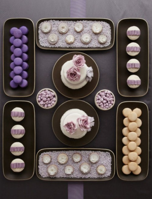 Wedding Dessert Table Setting In Chocolate And Creme Colors