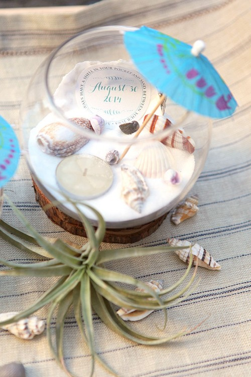 Diy beach wedding tea light centerpiece weddingomania