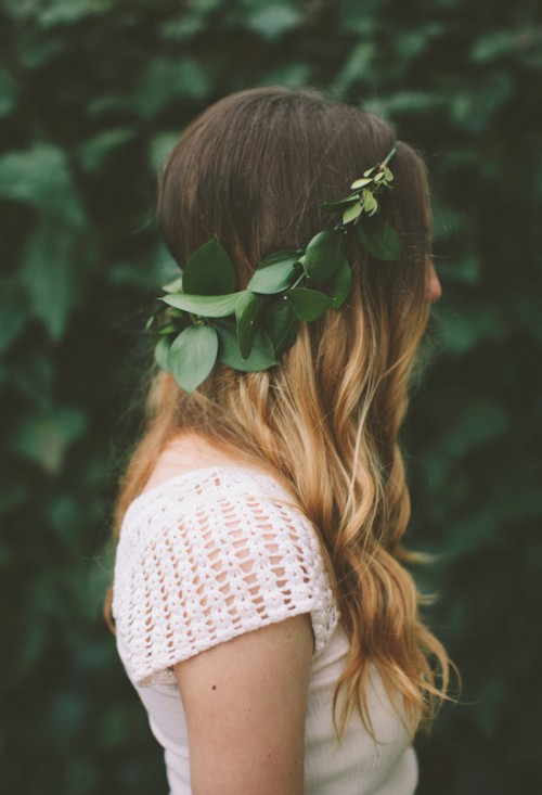 DIY Leaves Wedding Crown (via 100layercake)