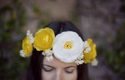 DIY Yellow Silk Fabric Flower Crown (via greenweddingshoes)