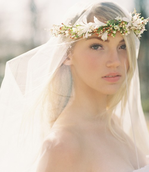 DIY Flower Crown Over A Drop Veil