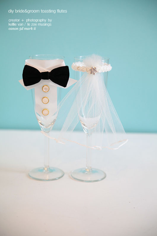 DIY Bride And Groom Toasting Flutes - Weddingomania