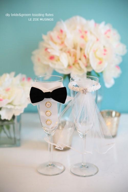 Diy Bride And Groom Toasting Flutes