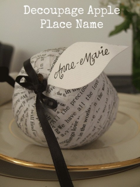 Diy Decoupage Apple Place Name