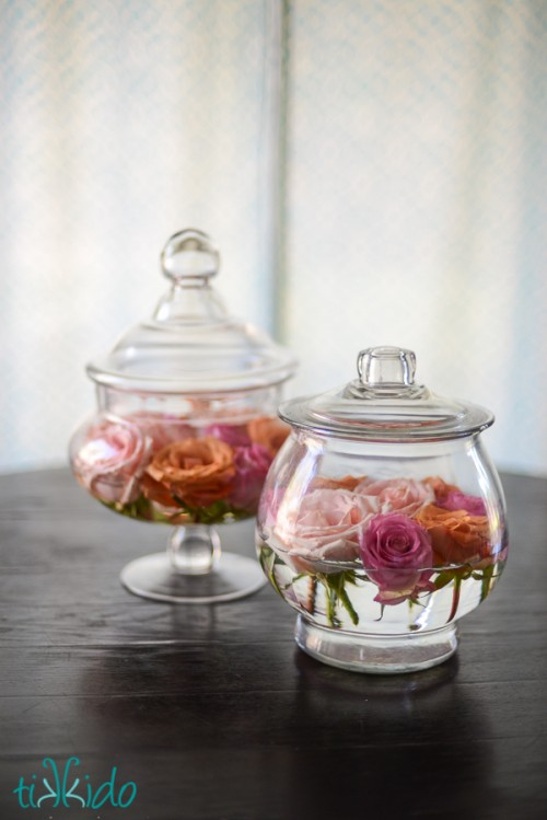 DIY Easy Apothecary Jar And Roses Centerpiece