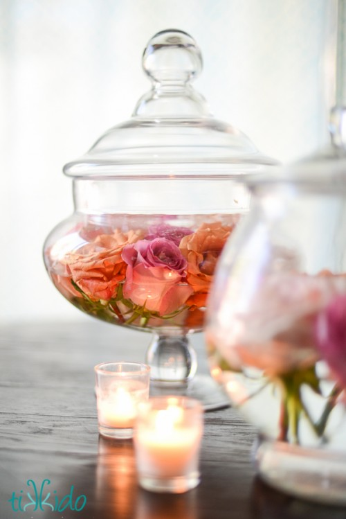 Diy Easy Apothecary Jars And Roses Centerpiece
