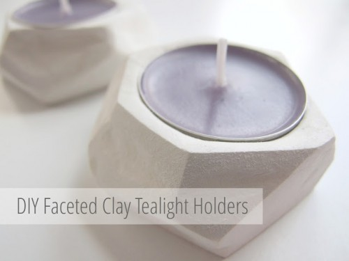 DIY Faceted Clay Tealight Holders