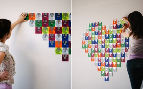 Diy Floppy Disk Heart Wedding Backdrop