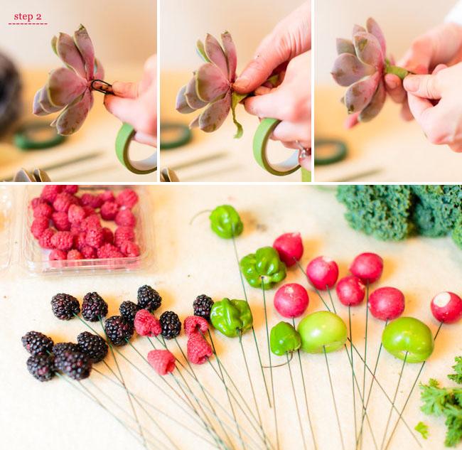 DIY Fruit And Vegetable Bouquet For A Rustic Wedding - Weddingomania