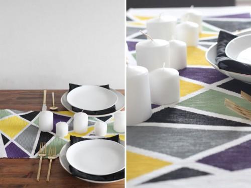 DIY Geometric Table Runner For Modern Weddings