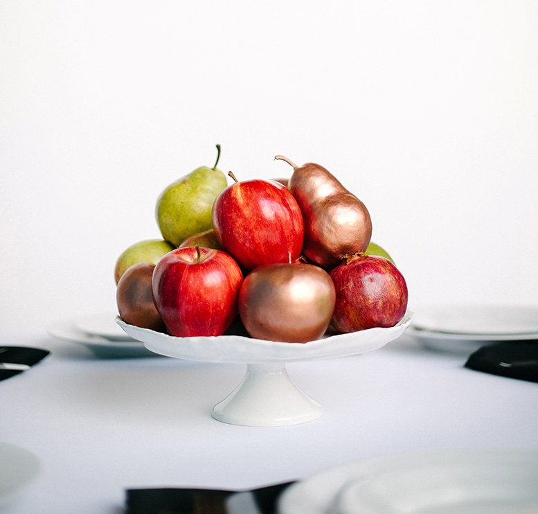 Diy Gilded Fruit Wedding Centerpiece