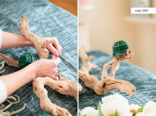 Diy Grapewood Wedding Centerpiece