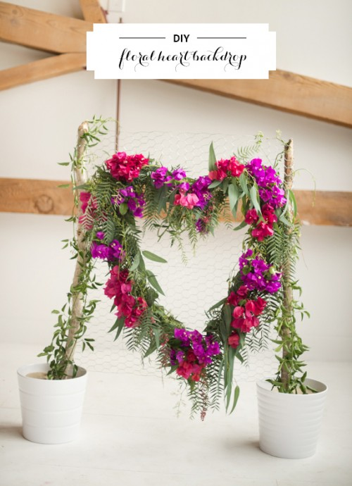 DIY Heart Floral Backdrop For Weddings