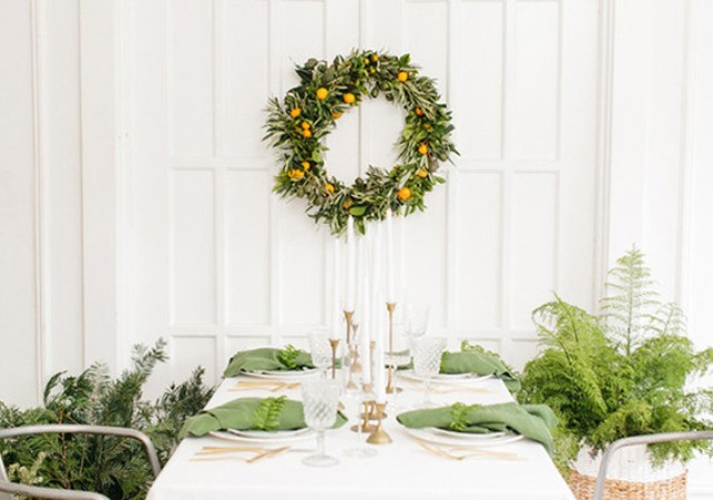 Picture Of diy orange and olive wreath for holiday weddings  5