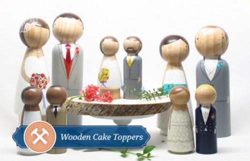 DIY Painted Wood Wedding Cake Toppers