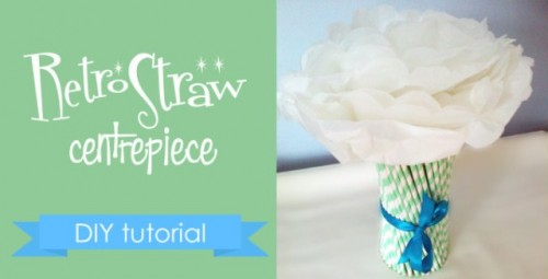 DIY Retro Straw Vase Centerpiece