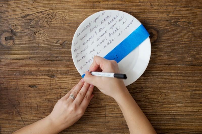Diy Romantic Handwritten Plates
