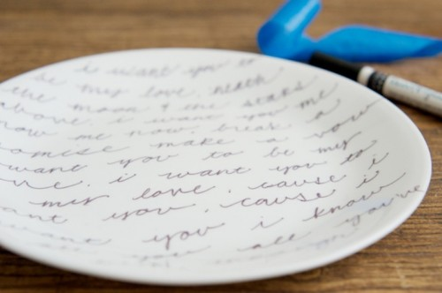 Diy Romantic Handwritten Plates