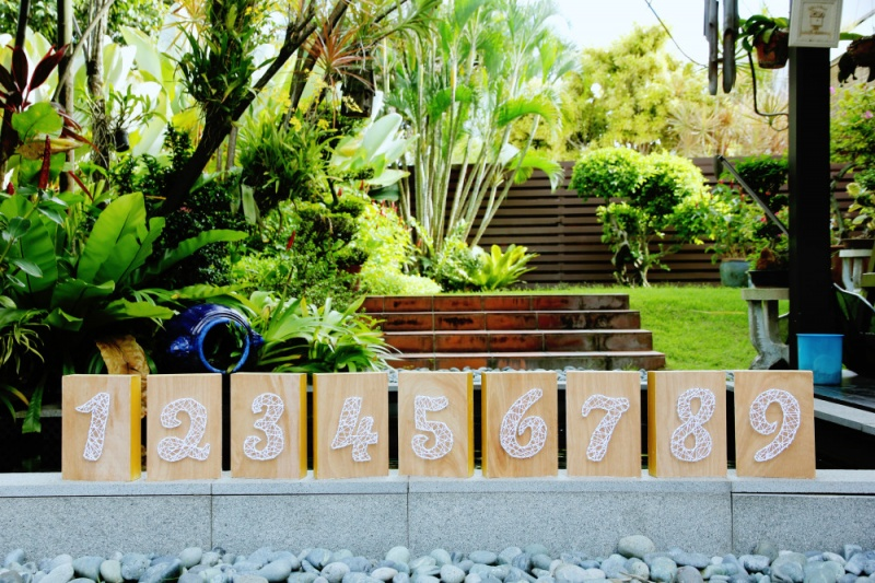 Picture Of diy string art wedding table numbers  1