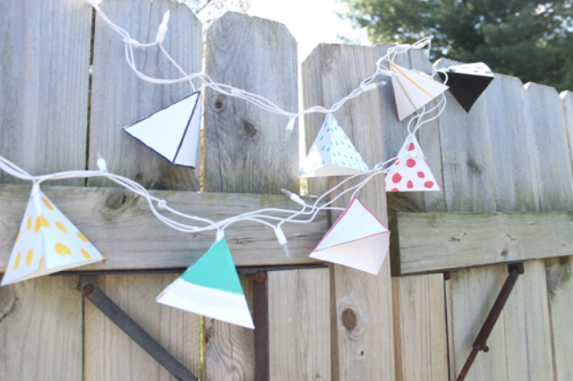 Picture Of diy triangle garland for wedding reception decor  8