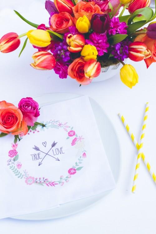 DIY True Love Flower Napkin For Wedding Decor