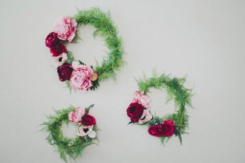 silk flower wreath backdrop