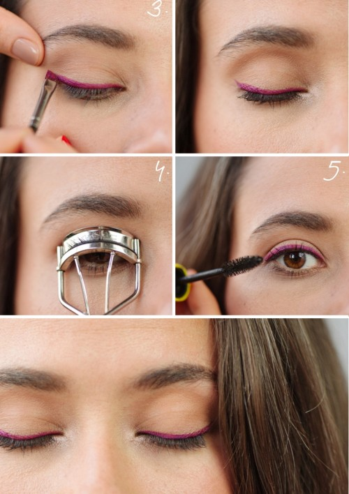 DIY Wedding Makeup: Bright Colorful Eyeliner Weddingomania