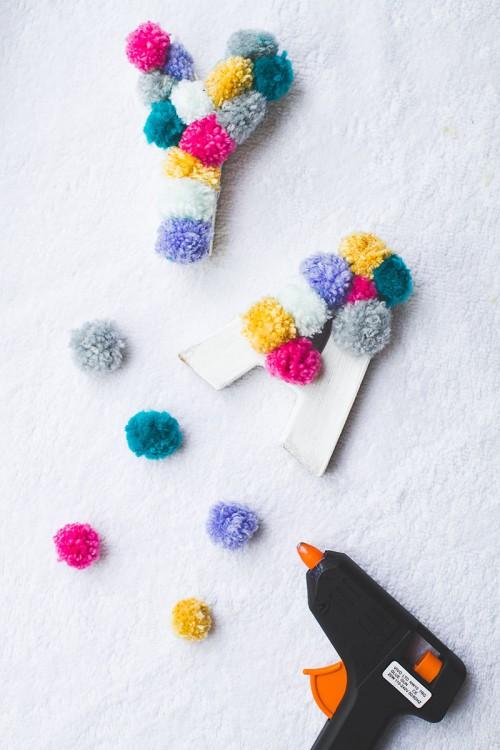 DIY Yarn Pompom Letters For Wedding Decor