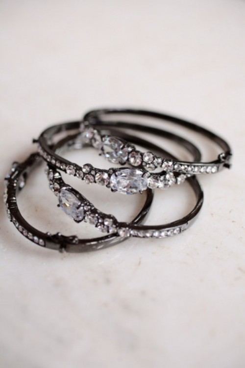 multiple black rhinestone bracelets are a nice bridesmaid favor or bridal accessories for a soft gothic wedding