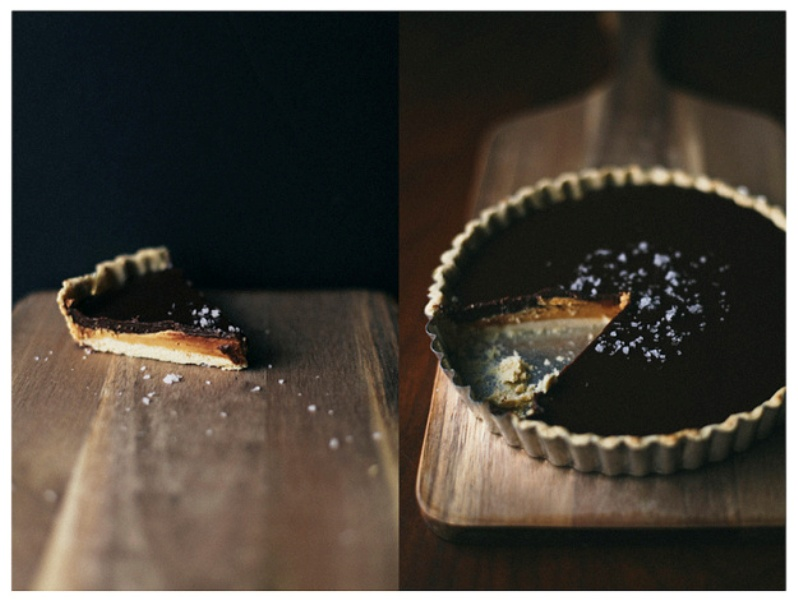 a tart with dark chocolate ganache is a modern and delicious option of a soft gothic wedding dessert