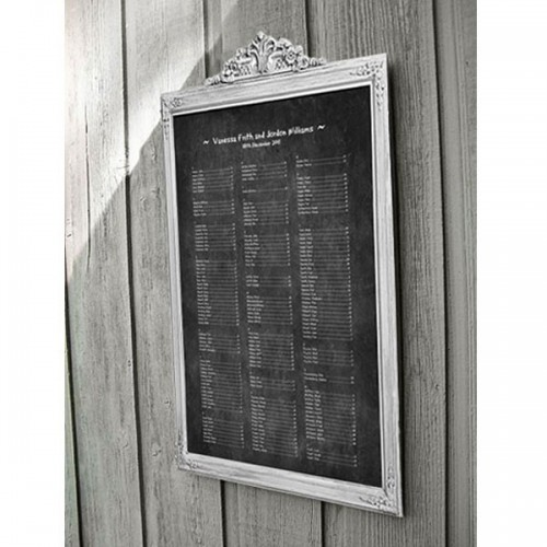 a chalkboard framed seating chart is a cool and easy to realize idea