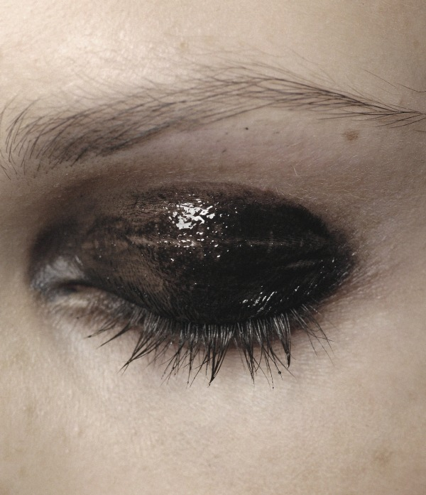 black glossy smokey eyes for a soft gothic bride