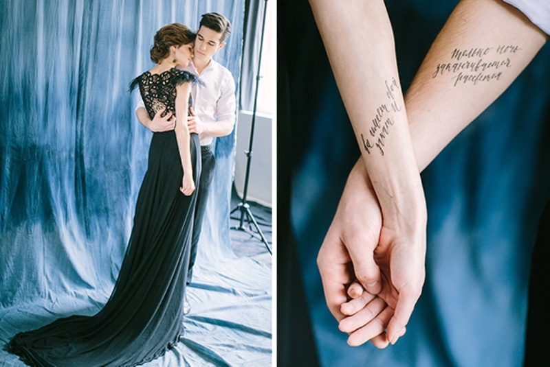 Picture Of dramatic blue and black wedding inspiration  13