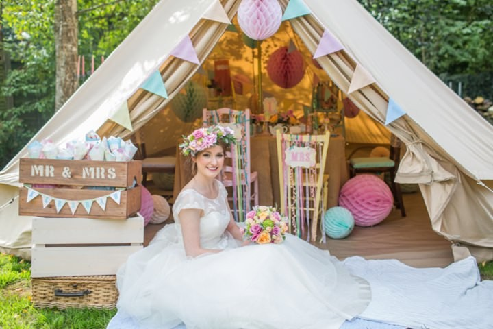 Picture Of dreamy and cute pastel glamping wedding shoot  1