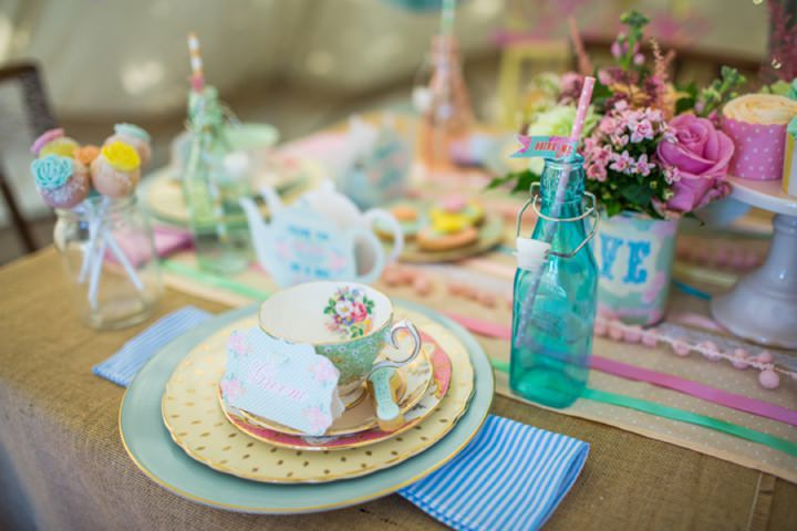 Picture Of dreamy and cute pastel glamping wedding shoot  11