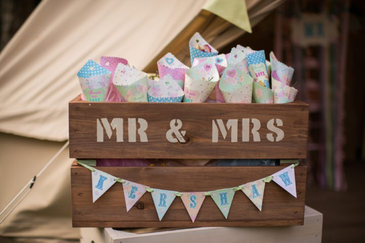 Picture Of dreamy and cute pastel glamping wedding shoot  12