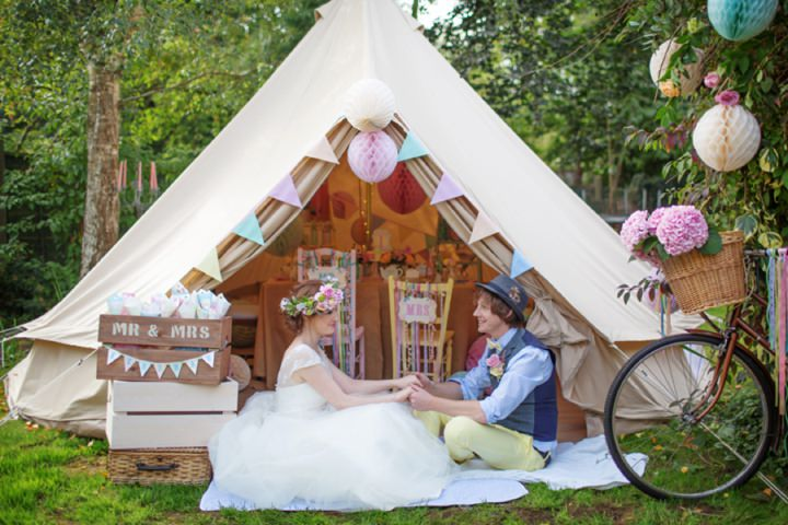 Picture Of dreamy and cute pastel glamping wedding shoot  14