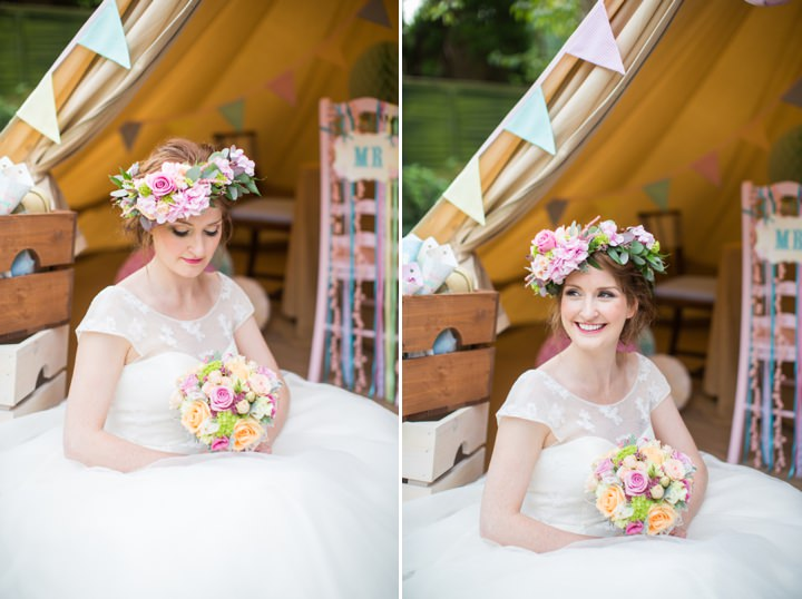 Picture Of dreamy and cute pastel glamping wedding shoot  15