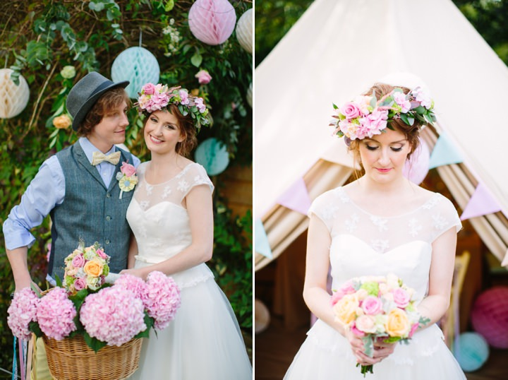 Picture Of dreamy and cute pastel glamping wedding shoot  17